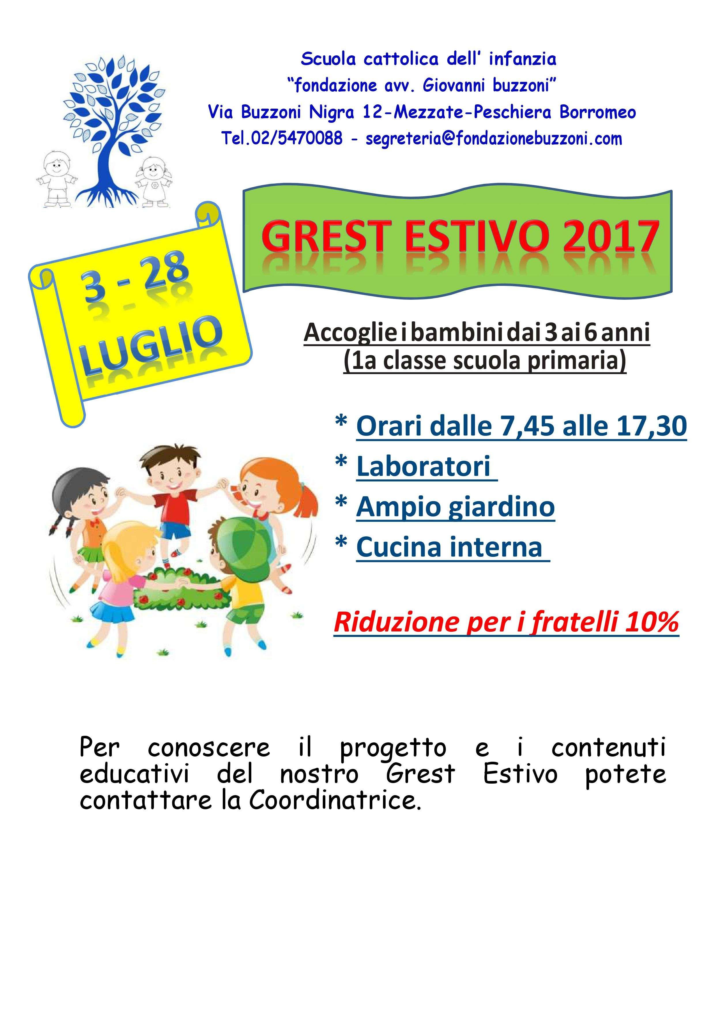 GREST estivo 2017 - Scuola Materna Peschiera Borromeo