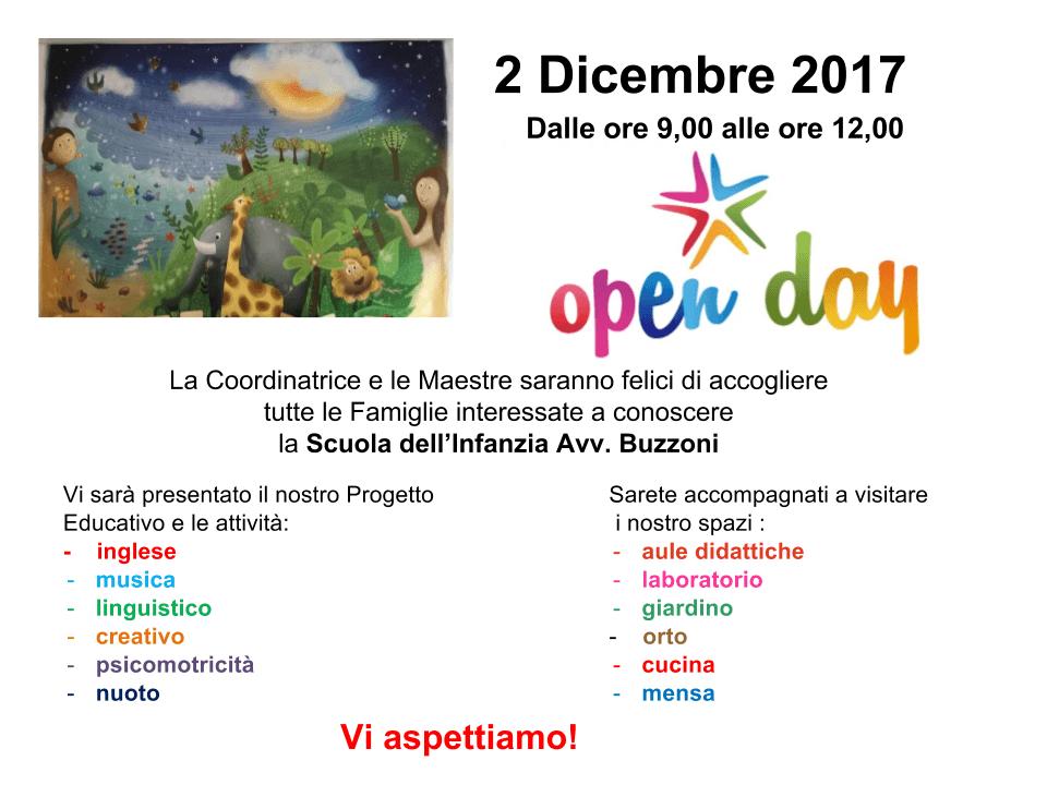 Open Day - 2 Dicembre 2017 - ore 9/12 - Scuola Materna Peschiera Borromeo