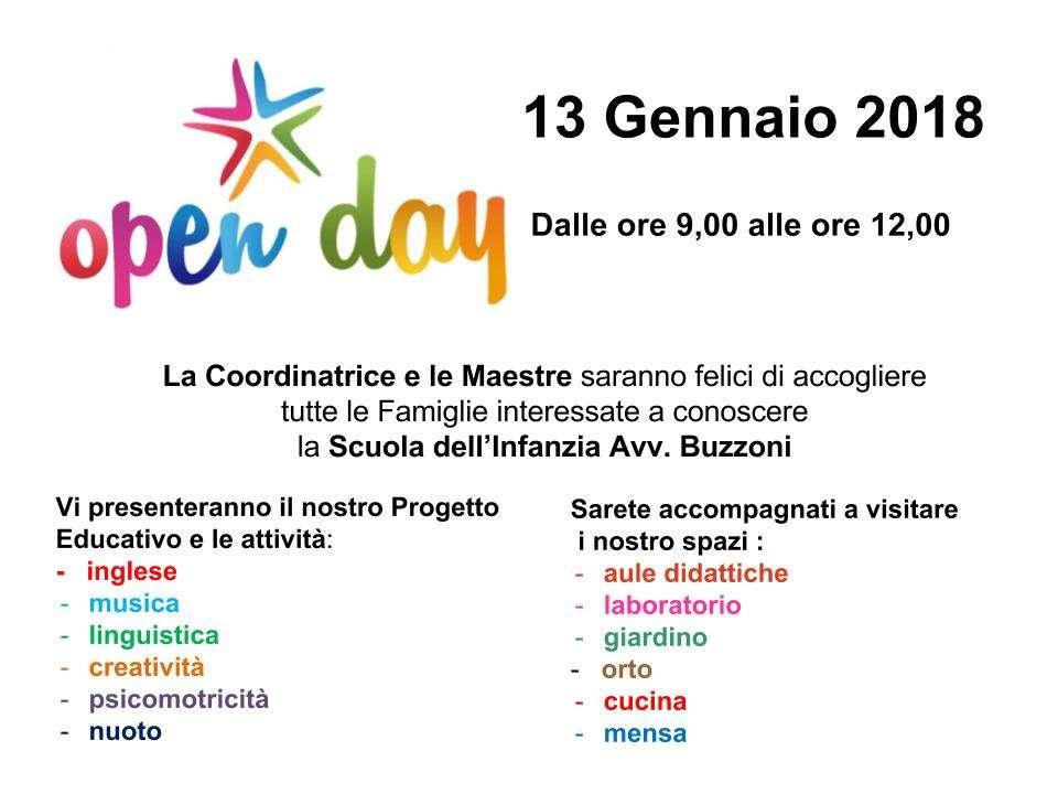 Open Day - 13 Gennaio 2018 - ore 9/12 - Scuola Materna Peschiera Borromeo