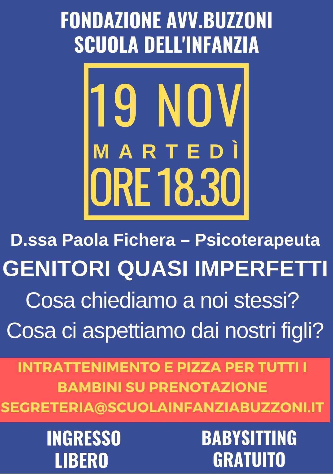 Genitori quasi imperfetti - incontro 19 Novembre 2019 - Scuola Materna Peschiera Borromeo